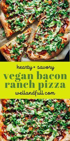 Best Vegetarian Recipes, Vegan Breakfast Recipes, Good Healthy Recipes, Delicious Vegan Recipes, Whole Food Recipes, Plant Based Recipes, Vegetable Pizza, Bacon, Dinner