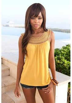 I wonder if a spaghetti strap vest top would work as a base to crochet a neckline like this onto...