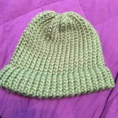 Hand made by yours truly  Green hat. Love this color green. It's an adult size. It's hand made by Me .  Any questions feel free to ask. Smoke free home. OBO Accessories Hats