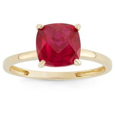 2 Tcw Tiara Cushion-cut Ruby Ring in 10k Yellow Gold - (6)