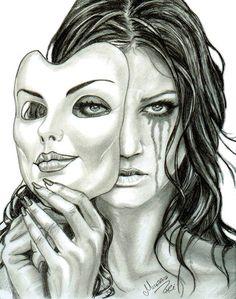 """Smile N Sad"" criativa em - Zeichnungen traurig - Arte Sad Sketches, Sad Drawings, Dark Art Drawings, Pencil Art Drawings, Art Drawings Sketches, Smile Drawing, Mask Drawing, Art Triste, Art Du Croquis"