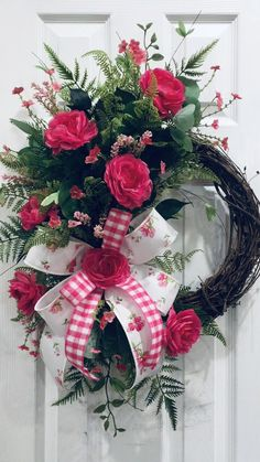 Spring Wreath, Spring Decor, Summer Wreath, Summer Decor Fuchsia florals and gorgeous greenery make the perfect combo for spring. Diy Spring Wreath, Summer Door Wreaths, Wreaths For Front Door, Holiday Wreaths, Wreath Crafts, Diy Wreath, Decoration Christmas, Valentine Wreath, Valentines