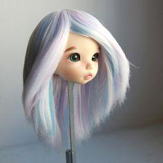 Pukifee wig white blue pink violet mix straight long handmade