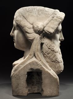 IMPORTANT LARGE ROMAN MARBLE JANIFORM HERM OF DIONYSOS AND A MAENAD    Ca. 1st Century AD