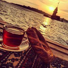I like drinking tea against the sea