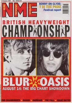 Blur V Oasis. Loved this when Country House and (I forget the Oasis song) were battling it out for Number one! I was so happy when Blur got in there! Not that I didn't love Oasis. Blur were my thing though. Indie Music, My Music, 1990 Music, Blur Band, Rumble In The Jungle, Damon Albarn, Liam Gallagher, Britpop, Music Magazines