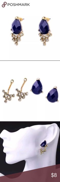 "Blue teardrop stud ear jacket earrings Convertible earrings are a stand out fashion statement when paired together. Wear the studs alone for a everyday sophisticated look!  You get 1 pair of Blue teardrop shaped stud earrings, each one comes with matching clear stone cluster bottoms.  -New with tags. -Nickel-free. -Bottoms measure approx. 16 mm -Studs measure approx. 1/2"" inch -Drop measures just under 1.25"" inches Jewelry Earrings"