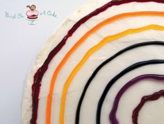 How to use colored gels to make a tie die decoration on top of tie dye cake. Do it after cake is baked!