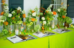 orange and green party | love the orange and green! | Party Ideas