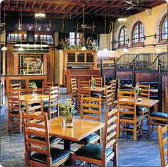 The 'Stable Cafe' at the Biltmore Estate in Asheville NC. Yes those are real horse stalls turned into booths to eat at.