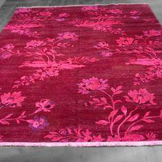 8x10 Over-Dyed Hot Pink & Lavender Floral Design Rug woh-2635