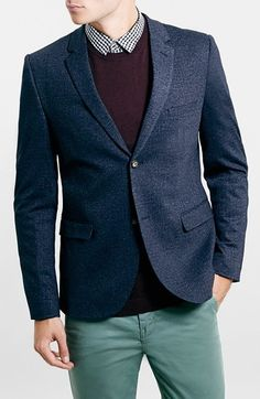 Free shipping and returns on Topman Navy Jersey Slim Fit Blazer at Nordstrom.com. A slim-fitting lightweight stretch-jersey blazer perfect for business travel is tailored with measured notch lapels and a two-button closure, resulting in a dapper look at a price that won't break the bank.