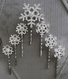 Elsa/ Frozen Inspired Snowflake Hair Clips/ Bobby Pins. Sturdy. Metal & Rhinestones. Wig/ Hair. Princess Cosplay, Dress-up, Parties, Wedding on Etsy, $5.49 Could use as part of cake
