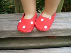 """American Girl Doll Shoes, 18"""" Doll Red Shoes, American Girl Doll Red Shoes, AG Polka Dot Shoes, Ready to Ship shoes, Handmade Doll Shoes - pinned by pin4etsy.com"""