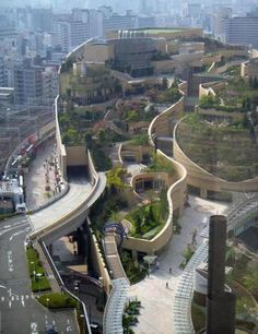 Amazing landscape architecture of namba park .  A mall in Osaka Japan.  They build it to bring a little green into the concrete and metal city.