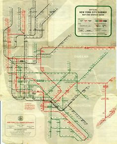 """Though you and I are only familiar with a single MTA map, dozens of other maps have attempted to make the NYC subway, er, reasonably comprehensive over the years. It's hard to imagine that the 1, 2, and 3 lines weren't always red, or that the L was once known as the """"16 Line,"""" which is what makes these old maps so fun to peruse."""