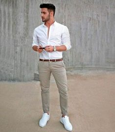 20 Perfect White Men's Long Sleeve Shirt Style For Work