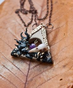 Witch triangle. Polymer clay, amethist.