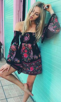 #spellandthegypsycollective #boho #outfits | Floral Off The Shoulder Boho Dress