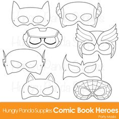 This listing is for (8) printable black and white comic heroes mask JPG files that are in both a zip and PDF! All masks are ready to be