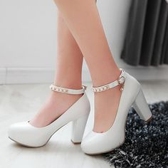 Heels approx 9 cmPlatform approx 3 cmColor WhitePinkPurpleGreenBlackBeigeSize US 3 4 5 6 7 8 9 10 11 Measurement In Cm And Please Note NoteUse. Chunky Heel Pumps, High Heel Boots, High Heel Pumps, Pumps Heels, High Heels For Kids, Black High Heels, Ankle Strap Heels, Ankle Straps, Platform High Heels