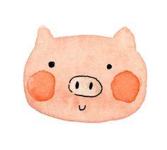 "Cute piggy face - would be a good start point for a ""watercolor illustration"" lesson Illustration Tumblr, Pig Illustration, Watercolor Illustration, This Little Piggy, Little Pigs, Pig Drawing, Pig Art, Cute Piggies, Mundo Animal"