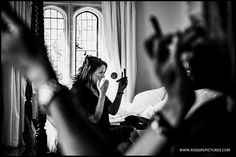 Last minute makeup before getting dressed for this Notley Abbey wedding -