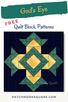 The GOD'S EYE quilt block is an eight patch design featuring half square triangles and flying geese patches. Half Square Triangle Quilts Pattern, Quilt Square Patterns, Paper Pieced Quilt Patterns, Barn Quilt Patterns, Square Quilt, Pattern Blocks, Patchwork Quilting, Scrappy Quilts, Barn Quilt Designs