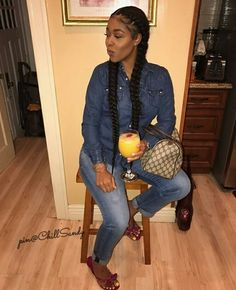 ⚠️ is the plug for more poppin' ass pins ⚡️ PLEASE give me my credit ‼️ My Hairstyle, Braided Hairstyles, Protective Hairstyles, Hairdos, Black Girl Braids, Girls Braids, Box Dreads, 2 Braids With Weave, Two Cornrow Braids