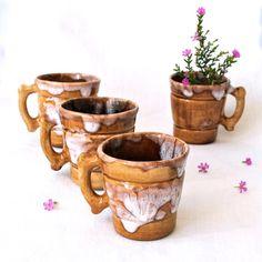 Vintage Pottery Ceramic Glazed Espresso Cups set by vintageberry, $20.00