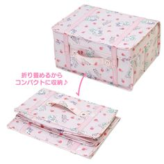 7eac4df5d371 Hello Kitty Fabric Folding Storage Box Bag Girly Room SANRIO JAPAN-03 Bag  Storage