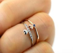 Super Tiny Heart Knuckle Ring Ocean Blue or Clear by authfashion, $8.50