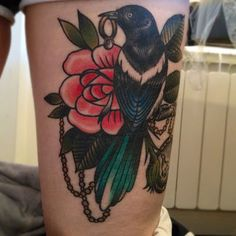 Magpie by Cassandra Frances at End Times Tattoo in Leeds City Centre.