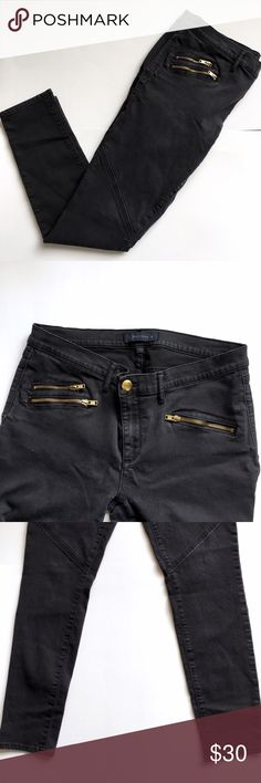 "Juicy Couture Black Skinny Moto Zipper Jeans Super chic and hot denim jeans from Juicy Couture. Black denim with gold zipper detailing. Skinny denim fit. Size 32. Inseam 29"" Juicy Couture Jeans Skinny"