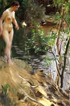 Anders Zorn (Swedish, 1860 - Model at Shore 1912 back in the day when nude art was ART Painting Collage, Woman Painting, Figure Painting, Painting & Drawing, Body Painting, Stockholm, Photoshop Me, Nordic Art, Portraits