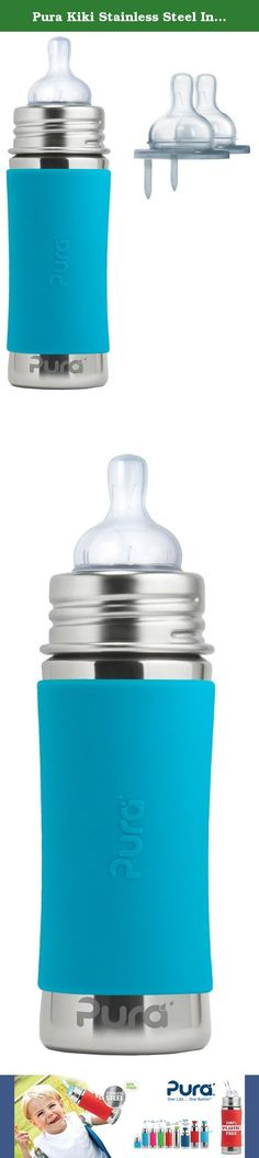Pura Kiki Stainless Steel Infant Bottle with Silicone Sleeve Plus 2 Slow Flow Nipples, 11 Ounce, Aqua. The Pura Infant Bottle features a food grade stainless steel bottle (18/8), medical grade silicone components, and zero plastic parts! The included Natural Vent Nipple features a one-piece anti colic venting tube that stabilizes pressure in the bottle for continual feeding and a wide shape for a more natural latch. Each bottle has pressed internal volume marks that can be clearly viewed…