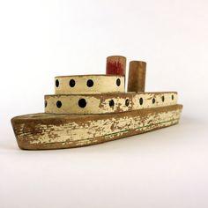 wooden steamship, vintage, etsy