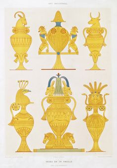 Enamelled gold vases from Histoire de l'art égyptien (1878) by Émile Prisse d'Avennes (1807-1879). Digitally enhanced by rawpixel. | free image by rawpixel.com