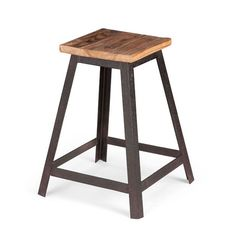 Old-fashioned style is looking good on this rustic–industrial stool. Wide metal bands form a handsomely angled base and dependable legs. The squared seat is made from warm, natural elm wood for a rich ...  Find the Alma Table-Height Stool, as seen in the Industrial Grade Kitchen Collection at http://dotandbo.com/collections/blueprints-industrial-grade-kitchen?utm_source=pinterest&utm_medium=organic&db_sku=ZUO0345