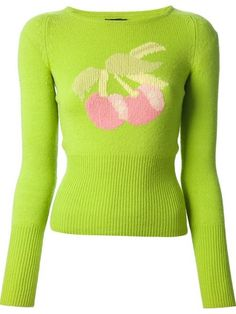 Green wool intarsia cherry sweater from Biba