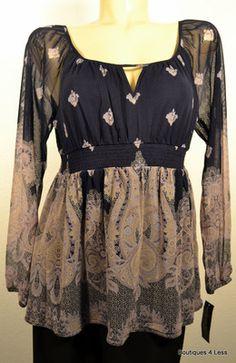 INC Womens Tops Paisley Peasant Shirt Boho Design Vintage Glamour SZ L Retail 59  Ours 4 less $26