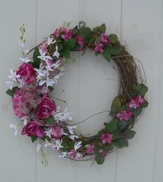 Spring wreath , Summer wreath,  grapevine Wreath, Magenta roses, pink hydrangea and white dendrobium orchids with chiffon floral  ribbon