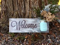 This cute Welcome Sign measures 20 x 7.5. This is a made to order item so the exact sign pictured is not available, but one similar will be made.