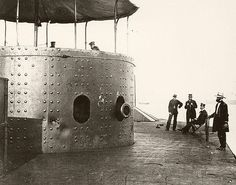 American Civil War Navy ~ View on USS Monitor deck looking forward on the starboard side, while the ship was in the James River, Virginia on July BFD Uss Monitor, Gun Turret, Rare Historical Photos, Us Navy Ships, Naval History, America Civil War, Civil War Photos, Ex Machina, Hampton Roads