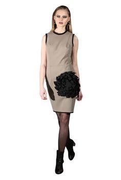 Yan To neoprene dress with flower.
