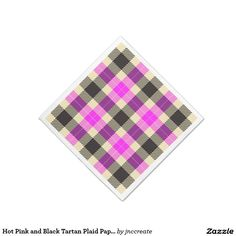 Hot Pink and Black Tartan Plaid Paper Napkins