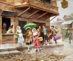 Mariano Alonso Perez y Villagrossa (spanisch, 1867 – Spanish, Zaragoza signed ALONSO-PEREZ l. oil on panel 50 by by Marcus Garvey, Wind And Rain, Spanish Painters, Rococo Style, Alonso, Walking By, My Arts, Artist, Paintings