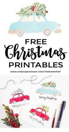 Watercolor Christmas Printable - One Project Closer