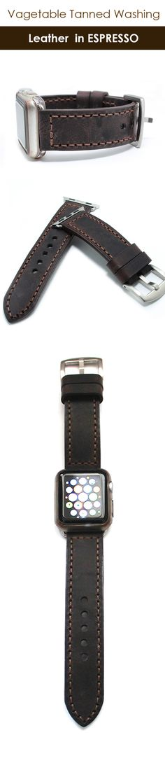 Hand stitched Apple watch band strap made with Italian washing dark brown (Espresso) leather. It is vegetable tanned oil pull-up and has vintage inspired patina. Comes with its buckle, 2 apple watch adapters lugs.   By ZenokLeather (scheduled via http://www.tailwindapp.com?utm_source=pinterest&utm_medium=twpin)