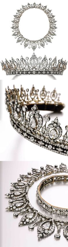 Diamond tiara/necklace, last quarter of the 19th century. Composed of fleurs de lys and confronting scroll motifs, swing-set with a graduated row of twenty pear-shaped diamond, on a band composed of lozenge and trefoil motifs, set throughout with cushion-shaped and rose diamonds, several small stones deficient, the tiara detaches to form a necklace and a bandeau, the bandeau detachable into two sections of approximately 310mm and 145mm. Property from the estate of Mary, Duchess of Roxburghe